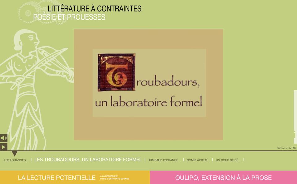 Image écran de la ressource en ligne Poésie et prouesses
