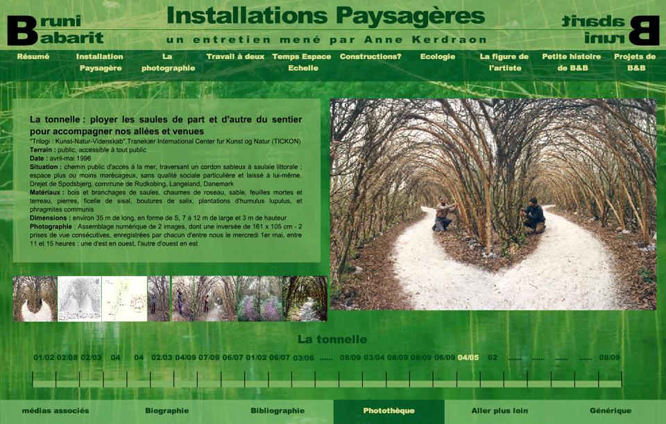 image écran du site Installations paysagères sur le travail des artistes Bruni et Babarit