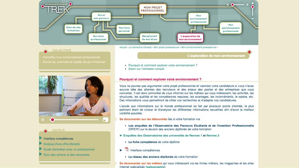 Impression écran du site TREK - du campus à l'emploi