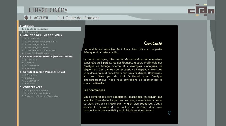 copie d'écran du module Image cinéma